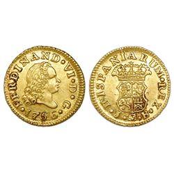 Madrid, Spain, bust 1/2 escudo, Ferdinand VI, 1756JB, NGC MS 62.