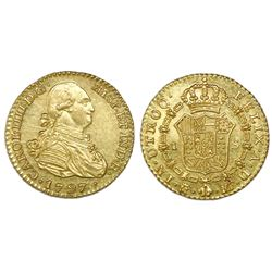 Madrid, Spain, bust 1 escudo, Charles IV, 1797MF, NGC MS 61.