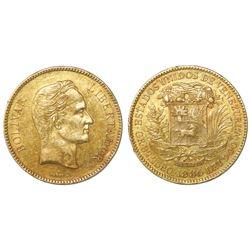 Venezuela, (100 bolivares), GR. 32,2580, 1886, normal date.