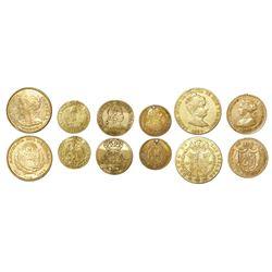 Lot of six small gold coins from various countries: El Salvador, 5 pesos, 1892CAM; Mexico, 1/2 escud