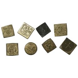 Collection of eight small, brass coin weights, 1600s-1700s, for various European gold coins.
