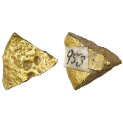 Wedge-cut of a small gold disk, 7.84 grams, from the Espadarte (1558).