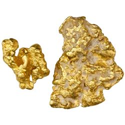 Lot of two small, natural gold nuggets, 10.00 grams total.