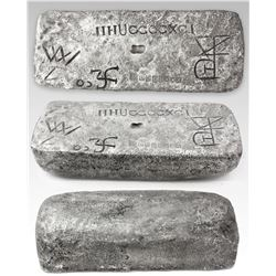 Large silver bar #510 from Potosi, 74 lb 3.5 oz troy, Class Factor 0.9, with markings of mine/date P