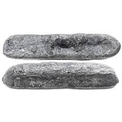 "Small silver ""finger"" bar (contraband), 570 grams, estimated to be about 90% fine, from the Maravill"