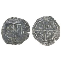 Toledo, Spain, cob 2 reales, Philip II, assayer M-in-circle below mintmark oT to left.