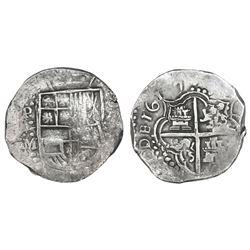 Potosi, Bolivia, cob 8 reales, 1617M, Grade 1.
