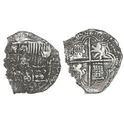 Potosi, Bolivia, cob 8 reales, Philip III, assayer T, Grade 3.