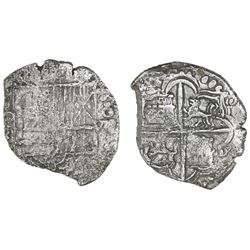 Potosi, Bolivia, cob 8 reales, Philip III, assayer not visible, Grade 3.