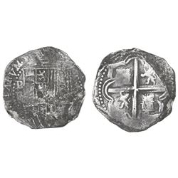 Potosi, Bolivia, cob 2 reales, Philip II, assayer B (3rd period), Grade 2.