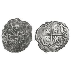 Potosi, Bolivia, cob 2 reales, Philip II, assayer not visible (style of 3rd-period B), Grade 2.