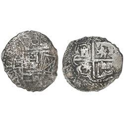 Potosi, Bolivia, cob 2 reales, Philip III, assayer R (curved leg), Grade 3.