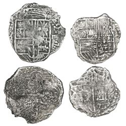 Lot of two Potosi, Bolivia, cob 4 reales, Philip III, assayers R (curved leg) and M, Grade 2, with t