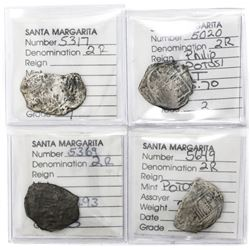 Lot of four Potosi, Bolivia, cob 2 reales, Philip III, assayer T or not visible, Grades 2, 3 and 4 (