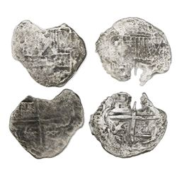 Lot of two Potosi, Bolivia, cob 1R, Philip III, assayers not visible, Grade 4, with tags only (certi