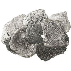 Lot of nine Potosi, Bolivia, cob fragments (denominations uncertain), Philip III, assayers not visib