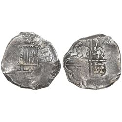 Potosi, Bolivia, cob 8 reales, Philip IV, assayer not visible (1630s).