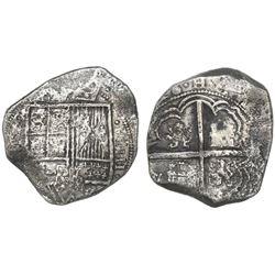 Bogota, Colombia, cob 8 reales, (16)28(P), quadrants of cross transposed, rare.