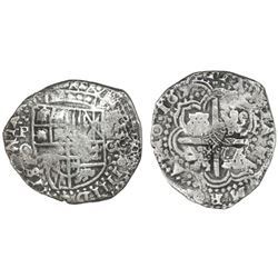 Potosi, Bolivia, cob 8 reales, 165(0-1)O, with pentagonal crowned-1652 countermark on cross (very ra