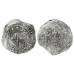Potosi, Bolivia, cob 8 reales, 1652E, Transitional Type VII/A, rare.