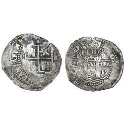 Potosi, Bolivia, cob 8 reales, 1652E, post-transitional (Transitional Type VIII/B), 1-PH-6 at top.