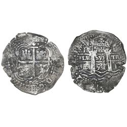 Potosi, Bolivia, cob 8 reales, 1652E, post-transitional (Transitional Type VIII/B).