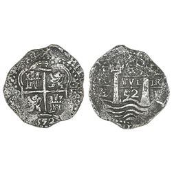Potosi, Bolivia, cob 4 reales, 1652E, post-transitional.