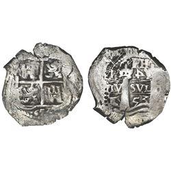 Potosi, Bolivia, cob 4 reales, 1653E, retrograde-4 denomination, PH at top.