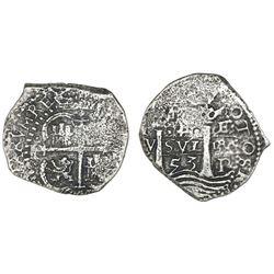 Potosi, Bolivia, cob 4 reales, 1653E, retrograde-4 denomination.