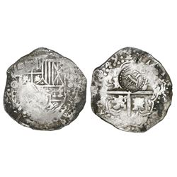 Potosi, Bolivia, cob 8 reales, 1649O/Z(?), with crowned-L countermark on cross.
