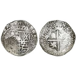 Potosi, Bolivia, cob 8 reales, 1649O/Z(?), with crowned-dot-F-dot countermark on shield.