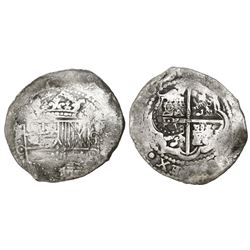 Potosi, Bolivia, cob 8 reales, 1650O, with crowned-O countermark on cross.
