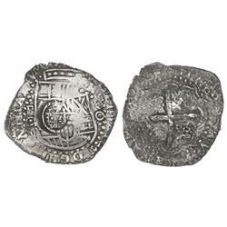 Potosi, Bolivia, cob 8 reales, (1)650O, with crowned-dot-T-dot countermark on shield.