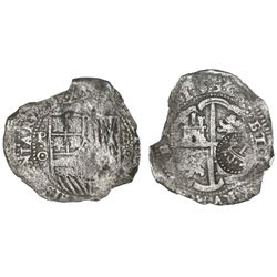 Potosi, Bolivia, cob 8 reales, 1650 (modern 5, dots between digits), assayer O, with crowned-L count