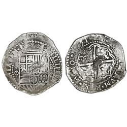 Potosi, Bolivia, cob 8 reales, 1651O, with TWO crowned-C countermarks (VERY rare) on cross.