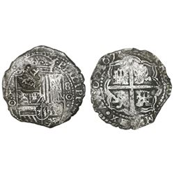 Potosi, Bolivia, cob 8 reales, 1651O, with crowned-dot-F-dot countermark on shield.