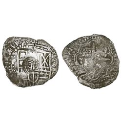 Potosi, Bolivia, cob 8 reales, 1651O, with crowned-PH countermark on cross.