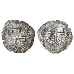 Potosi, Bolivia, cob 8 reales, (1650-1)O, with THREE crowned-C countermarks on cross (very rare).