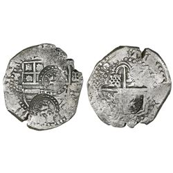 Potosi, Bolivia, cob 8 reales, (1650-1)O, with TWO crowned-T countermarks on shield and one crowned-