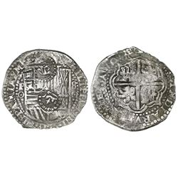 Potosi, Bolivia, cob 8 reales, (1650-1)O, with TWO different crown-alone countermarks (one rare) on