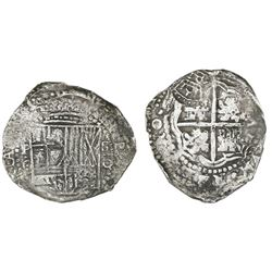 Potosi, Bolivia, cob 8 reales, (1650-1)O, with crowned-PH countermark on cross.