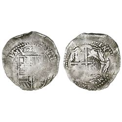 Potosi, Bolivia, cob 8 reales, 16(50-1)O, with crowned-O countermark on cross.