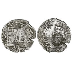 Potosi, Bolivia, cob 8 reales, 1651E/O, with crowned-L countermark on cross.