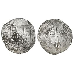 Potosi, Bolivia, cob 8 reales, 1651E, modern 5, with crown-alone countermark on shield.
