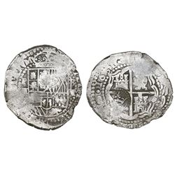 Potosi, Bolivia, cob 8 reales, 1651E, with crowned-L countermark on cross.