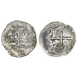 Potosi, Bolivia, cob 8 reales, 1651E, with crowned-PH countermark on cross.