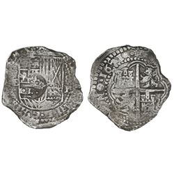Potosi, Bolivia, cob 8 reales, 1651E, with crowned-dot-F-dot countermark on shield.