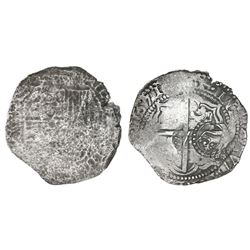Potosi, Bolivia, cob 8 reales, 1651(O or E), with crown-alone countermark (rare variety) on cross.