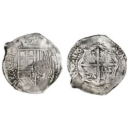 Potosi, Bolivia, cob 8 reales, 165(1-2)E, with crowned-dot-F-dot countermark on shield.
