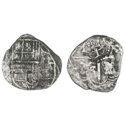 Potosi, Bolivia, cob 4 reales, assayer Z(?), with crowned-L countermark on cross.
